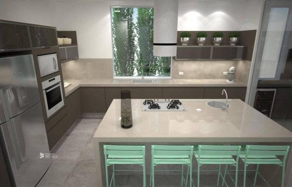 Cooktop na ilha de cozinha com fogão 4 bocas