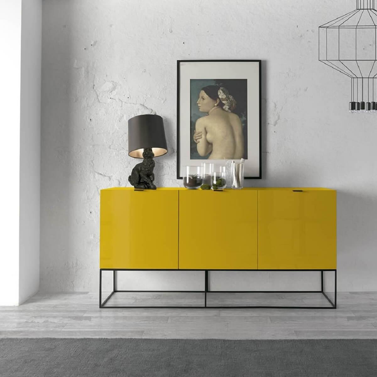 design moderno de aparador amarelo para sala