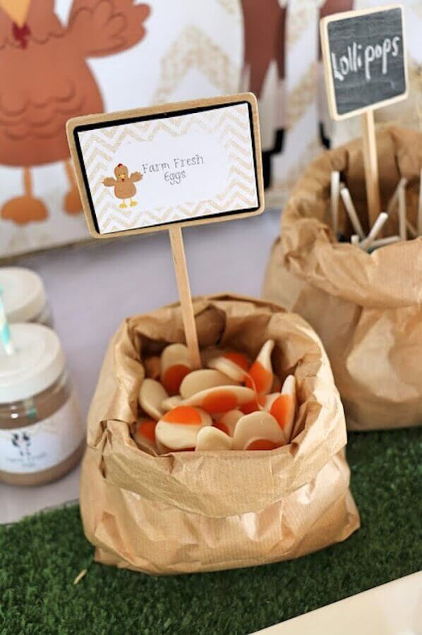 candy in paper bags for decoration small farm party Photo Kara's Party Ideas