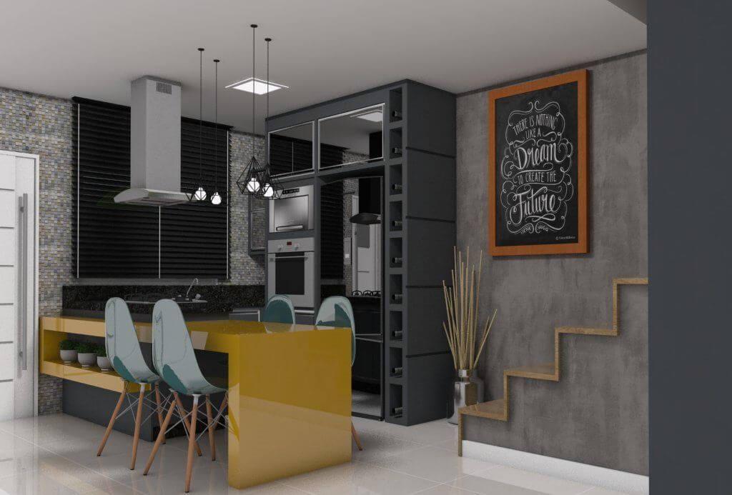 eletrodomésticos para cozinha - cozinha com balcão amarelo