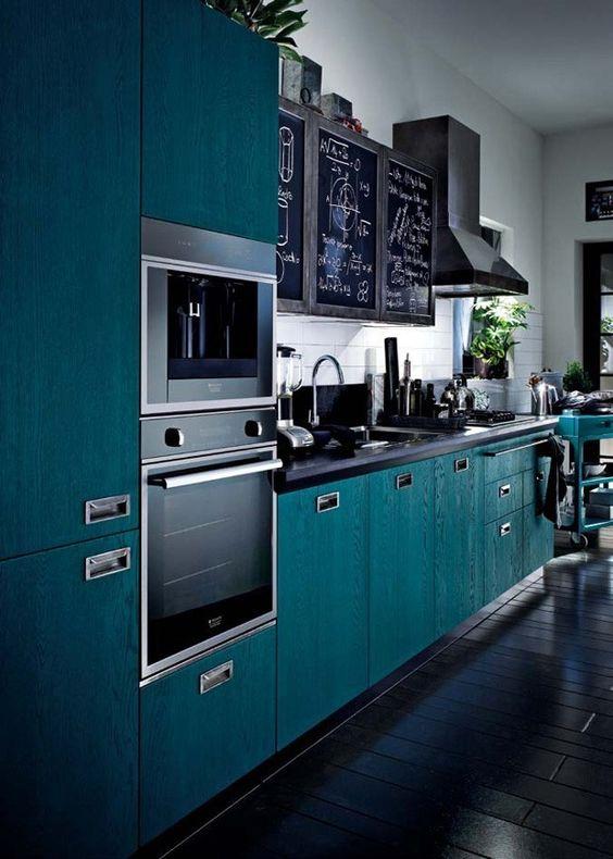 eletrodomésticos para cozinha - cozinha com eletrodomésticos pretos e armários verdes
