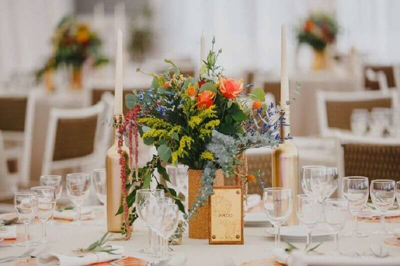 enfeite de mesa para casamento fácil de fazer Foto Pinterest