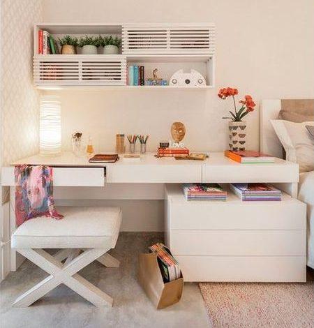 escrivaninha suspensa - escrivaninha branca com gavetas