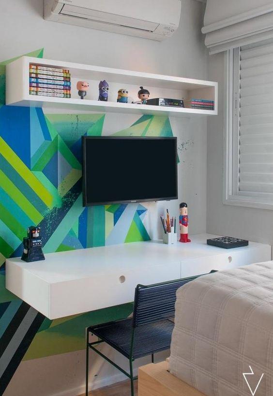 escrivaninha suspensa - escrivaninha branca com gavetas e painel para tv