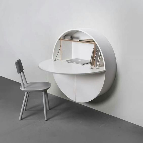 escrivaninha suspensa - escrivaninha branca em módulo circular