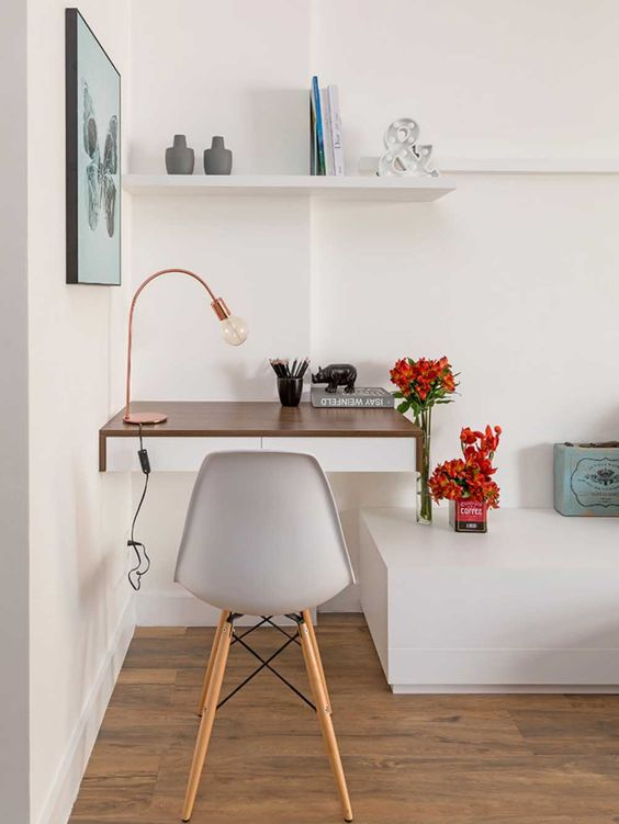 escrivaninha suspensa - escrivaninha com gavetas brancas