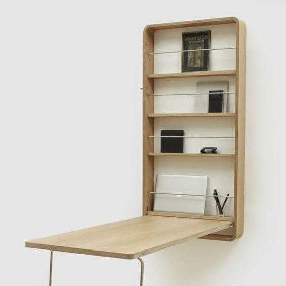 escrivaninha suspensa - escrivaninha de madeira associada à estante