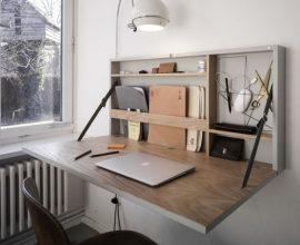 escrivaninha suspensa - escrivaninha de madeira dobrável - BuzzFeed