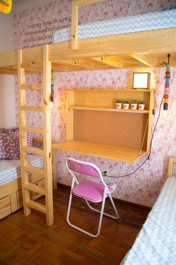 escrivaninha suspensa - escrivaninha de madeira embaixo de beliche