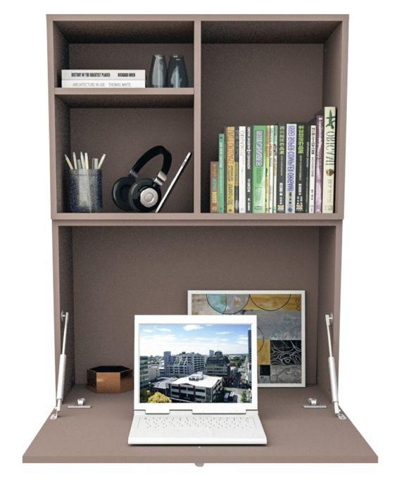 escrivaninha suspensa - escrivaninha marrom dobrável