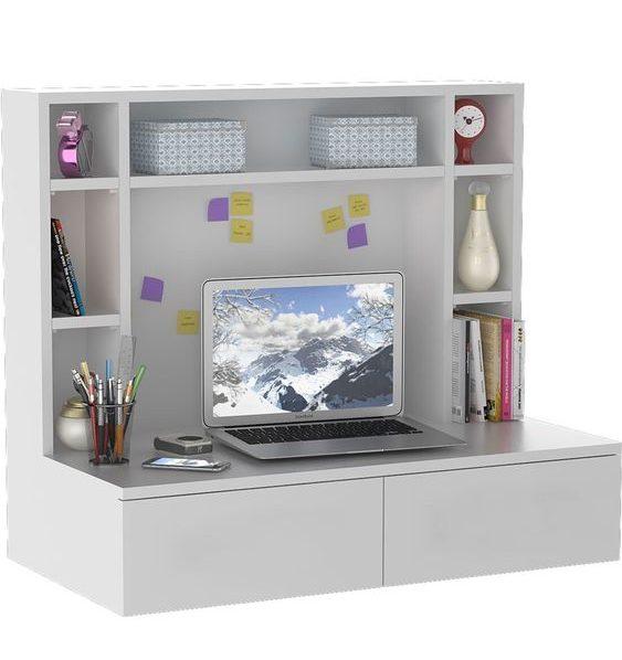 escrivaninha suspensa - escrivaninha suspensa cinza com nichos