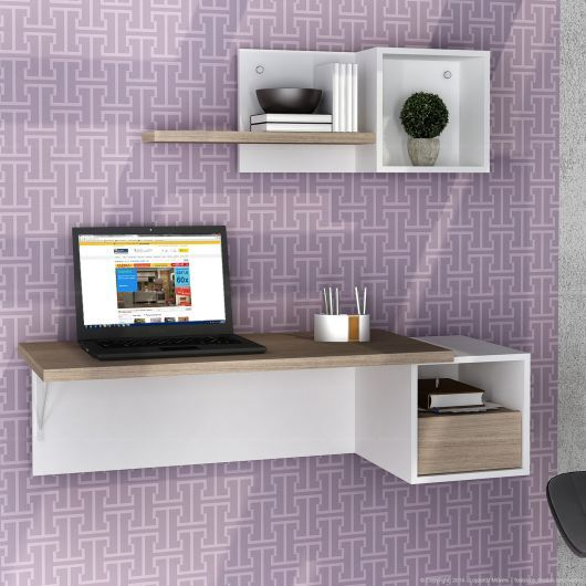 escrivaninha suspensa - escrivaninha suspensa em parede decorada
