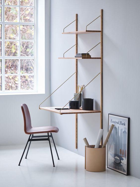 escrivaninha suspensa - estante com escrivaninha embutida