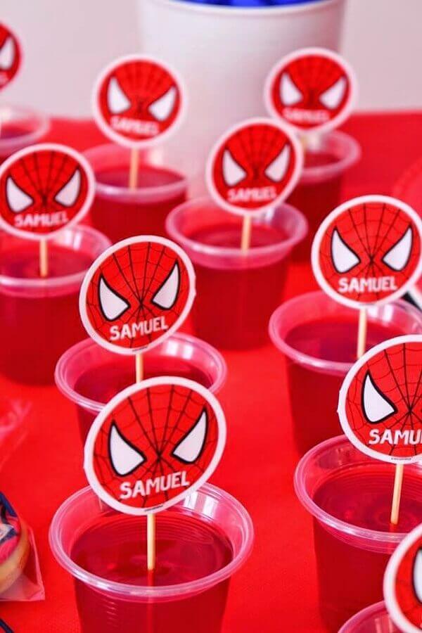 festa do homem aranha simples com plaquinhas de máscara em gelatina Foto Pinterest