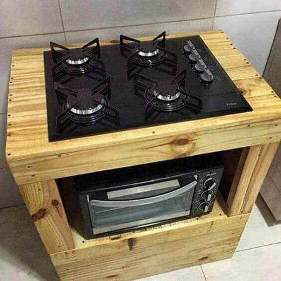 Fogão 4 bocas com base de madeira
