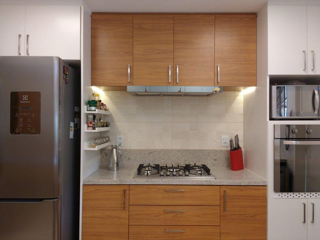 fogão cooktop - bancada de granito cinza com cooktop de 5 bocas