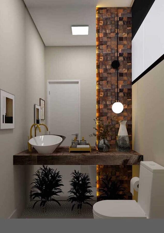 lavabo decorado com bancada de madeira e pedra ferro Foto Pinterest