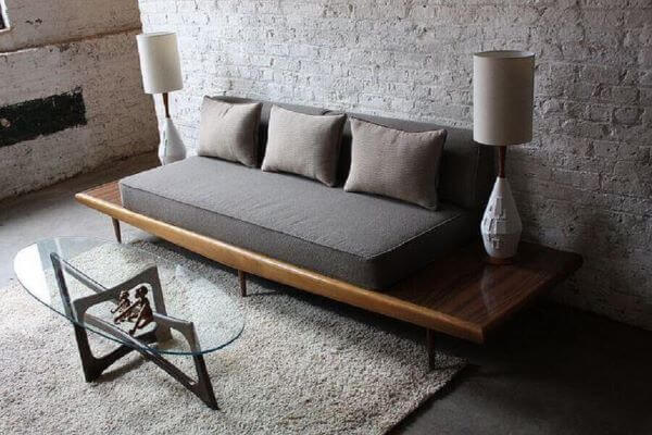 sofá de madeira moderno