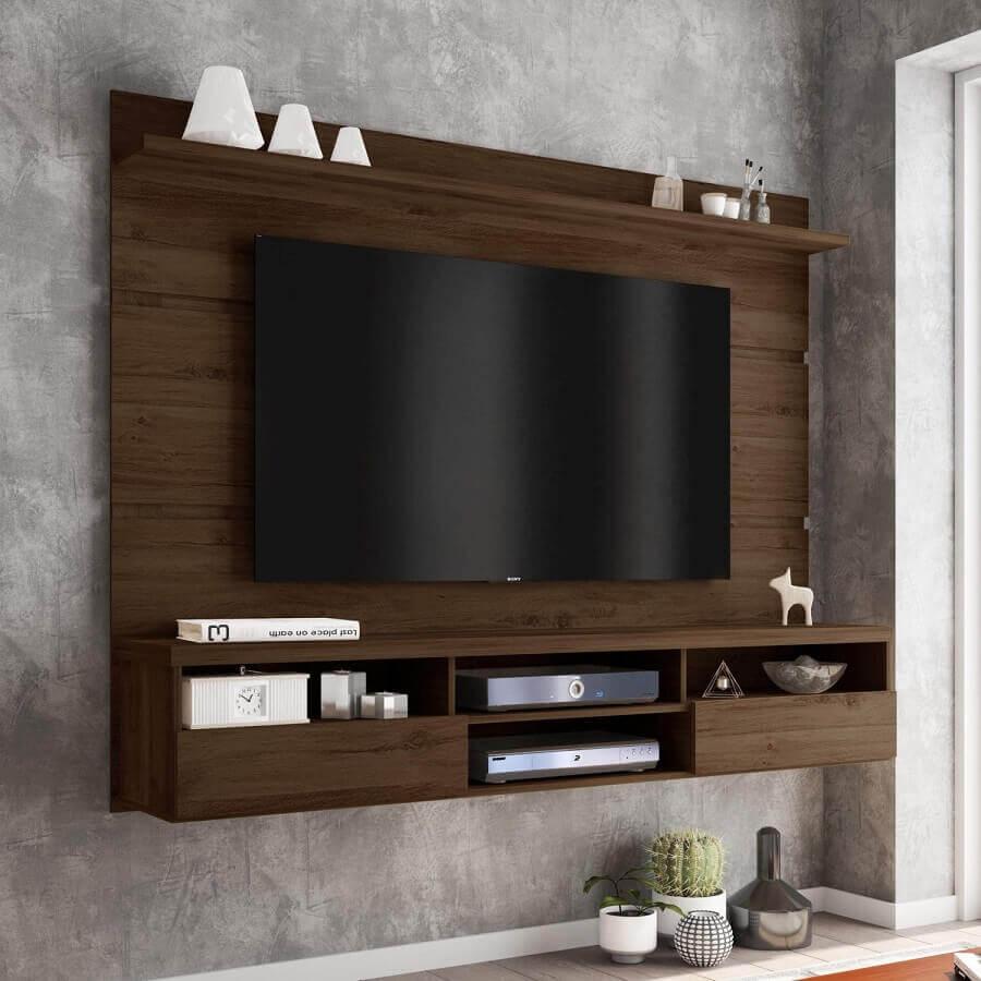 modelo simples de rack com painel de madeira Foto Madeira Madeira