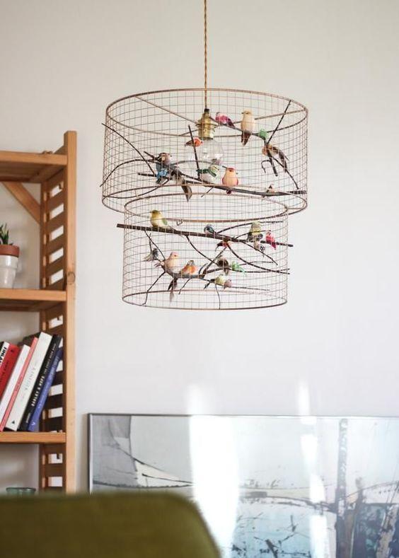 modelos de lustres - lustre com pássaros