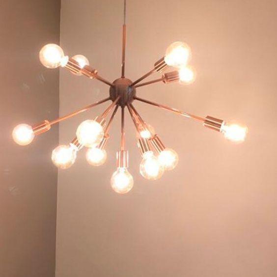 modelos de lustres - lustre com ramificações e lampadas amarelas