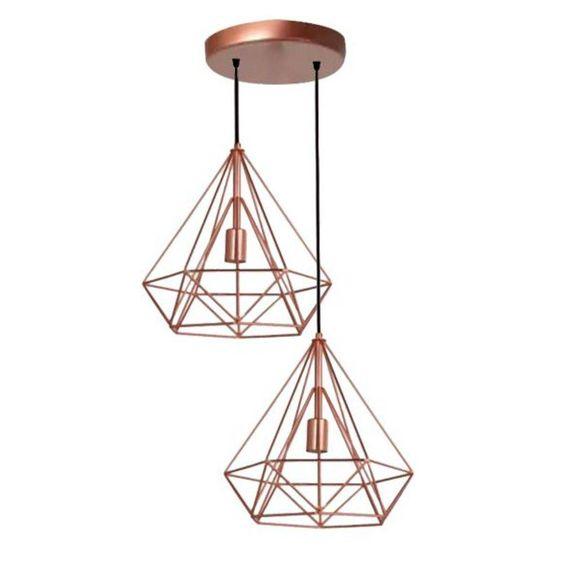 modelos de lustres - lustre de cobre geométrico