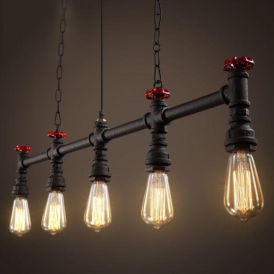 modelos de lustres - lustre industrial com cinco lâmpadas