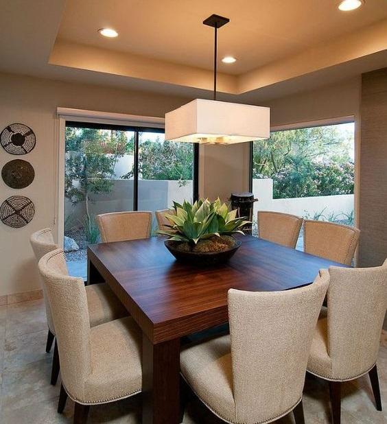 modelos de lustres - lustre quadrado em sala de jantar