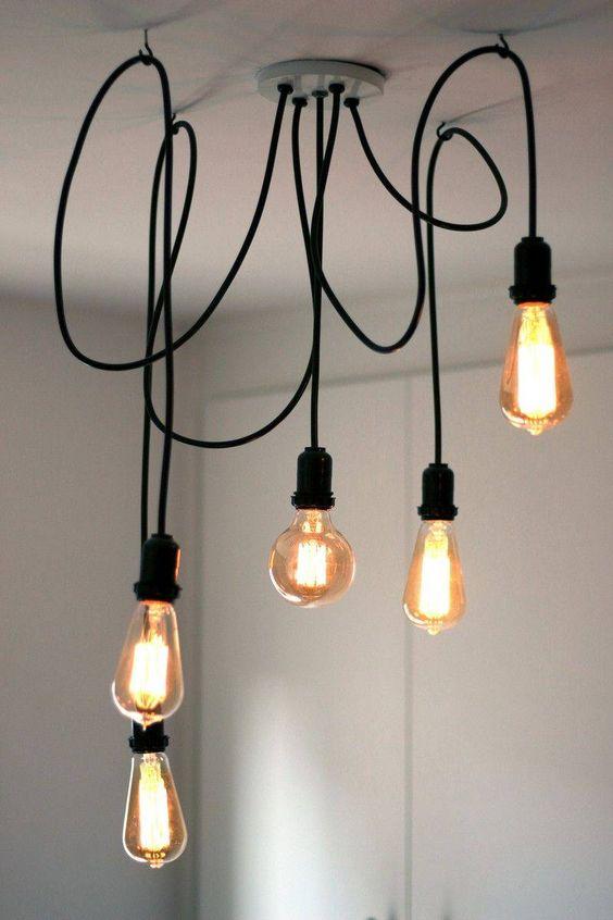 modelos de lustres - lustre simples com cordas e lâmpadas