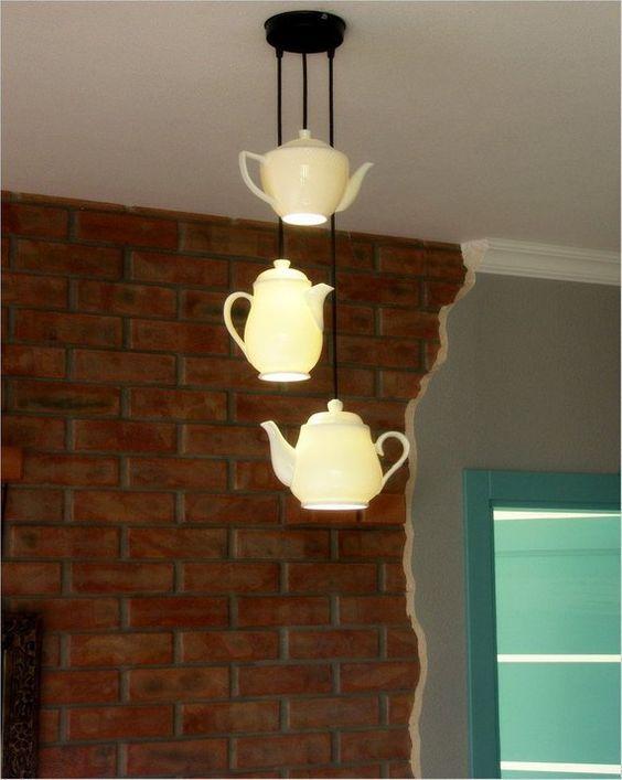 modelos de lustres - lustres com bules de chá