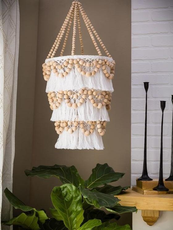 modelos de lustres - lustres com madeiras e tecidos