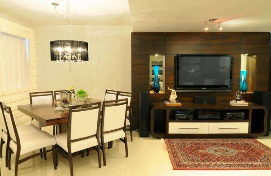 painel com rack para sala de tv com sala de jantar integrada Foto Pinterest