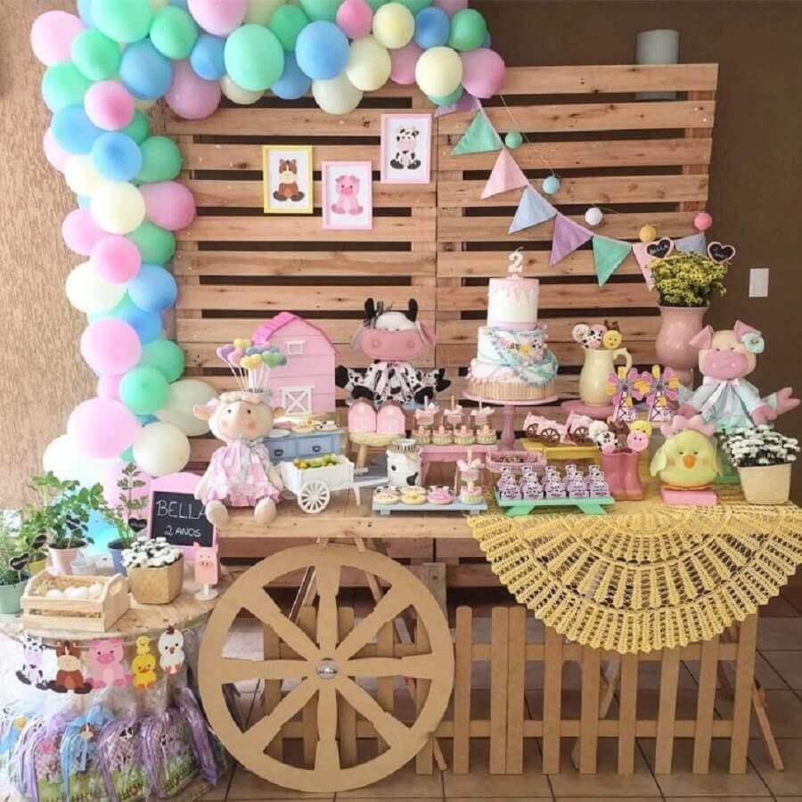 painel de palhet para festa fazendinha rosa Foto Um Dia de Festa