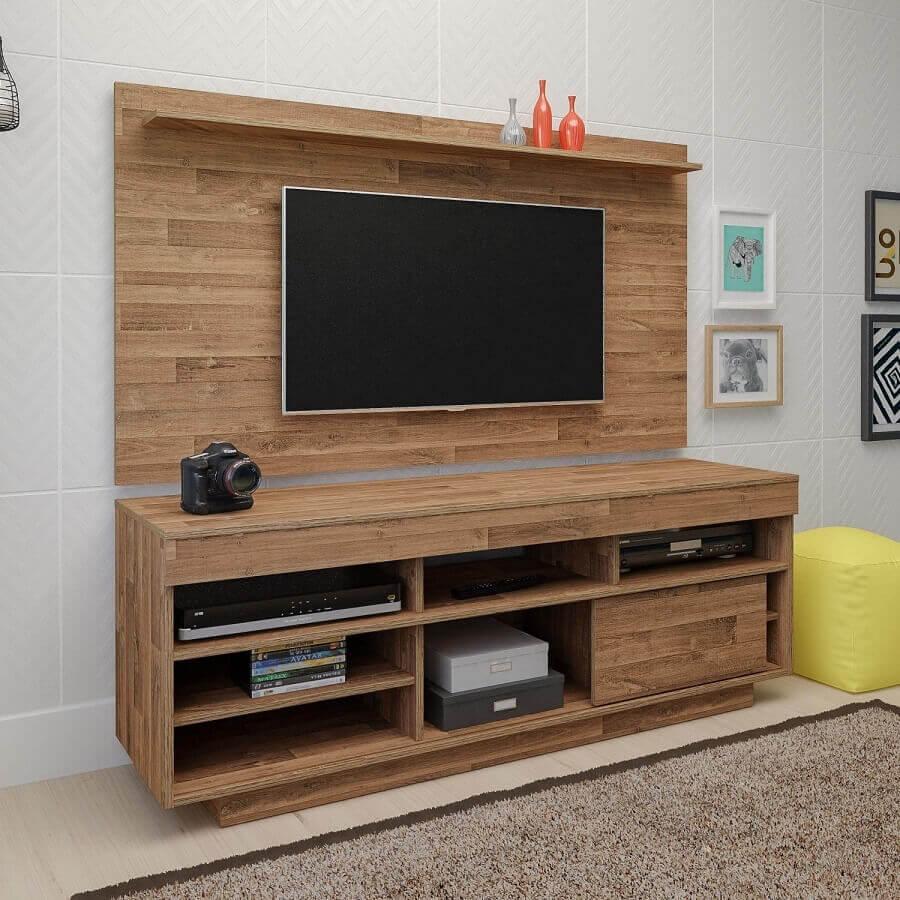painel para tv com rack simples Foto Madeira Madeira