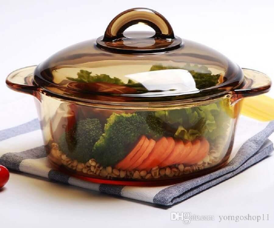 panela de vidro marrom com alimentos Foto DHGate
