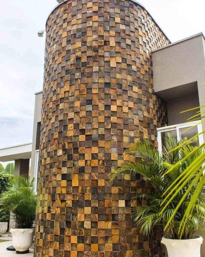 pedra ferro para fachada Foto Invento Arquitetura