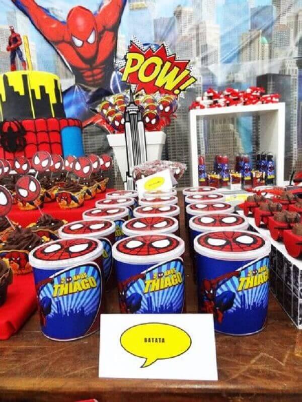 potinhos de doce personalizados para festa infantil do homem aranha Foto Toda Atual
