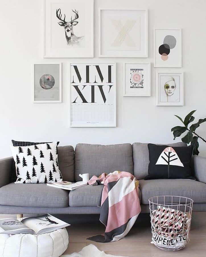 quadros tumblr para decoração de sala de estar com estilo escandinavo Foto Pinterest
