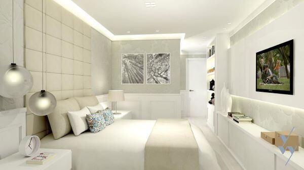 O quarto na cor off white para casal