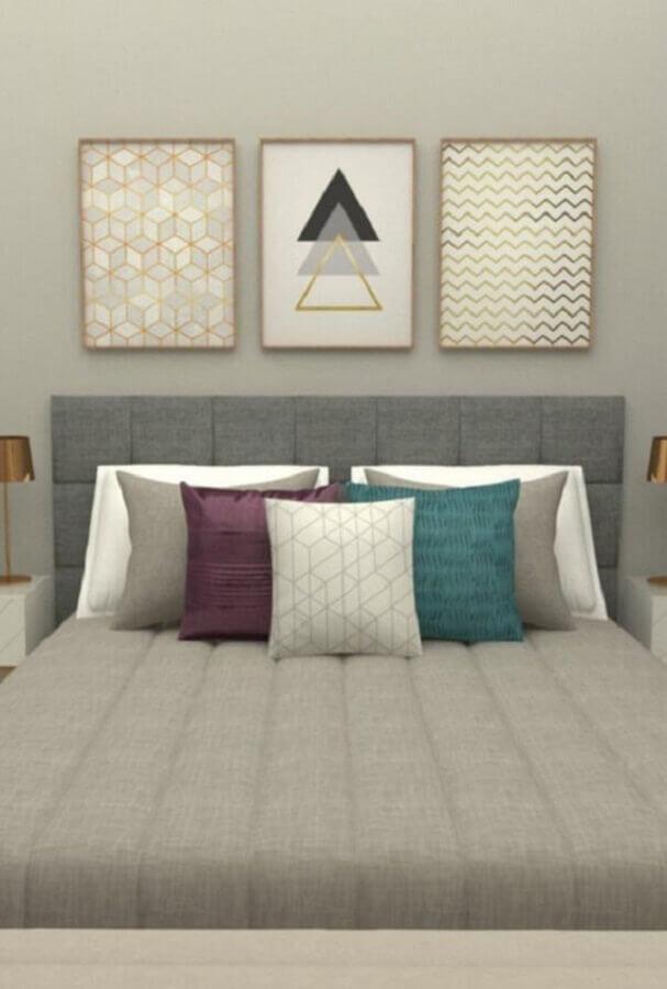 quarto de casal decorado com cabeceira cinza e quadros tumblr Foto Em Canto Meu