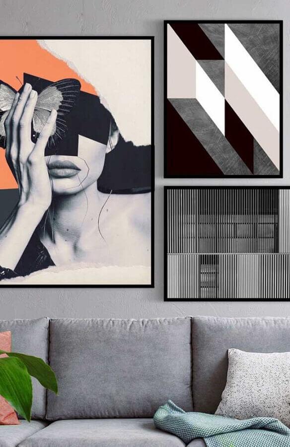 sala moderna decorada com quadros tumblr diferentes Foto Pinterest