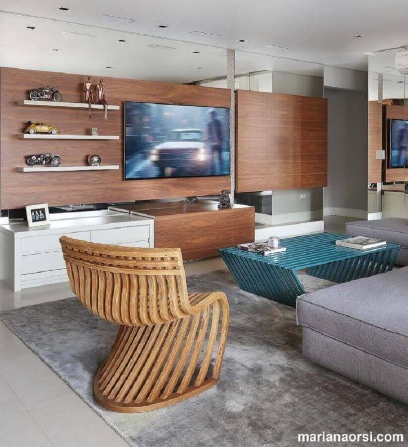 sala moderna decorada painel para tv com rack Foto Mariana Orsi