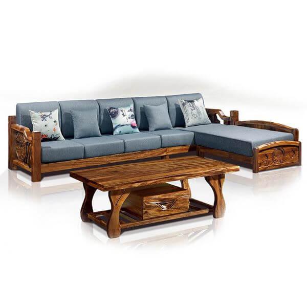 Sofá de madeira de canto em azul