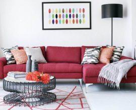Sofá vermelho com decoração moderna - Por: Pinterest