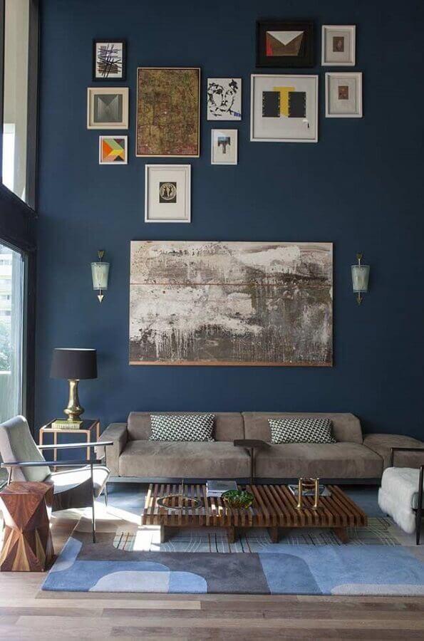tinta de parede azul petróleo para sala Foto Pinterest