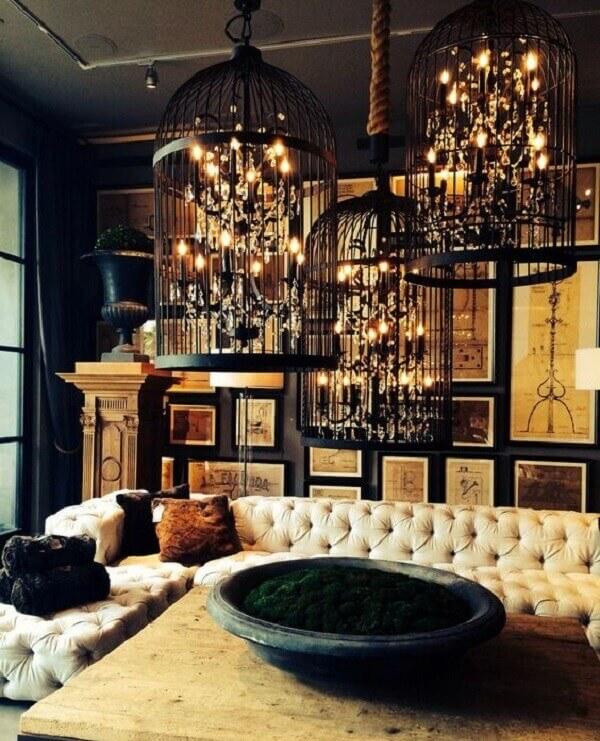 Sofisticação e elegância incluindo gaiolas decorativas