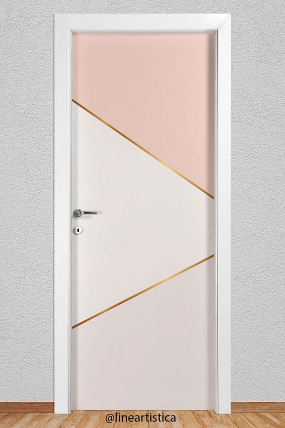 Adesivo de porta dourada e rose