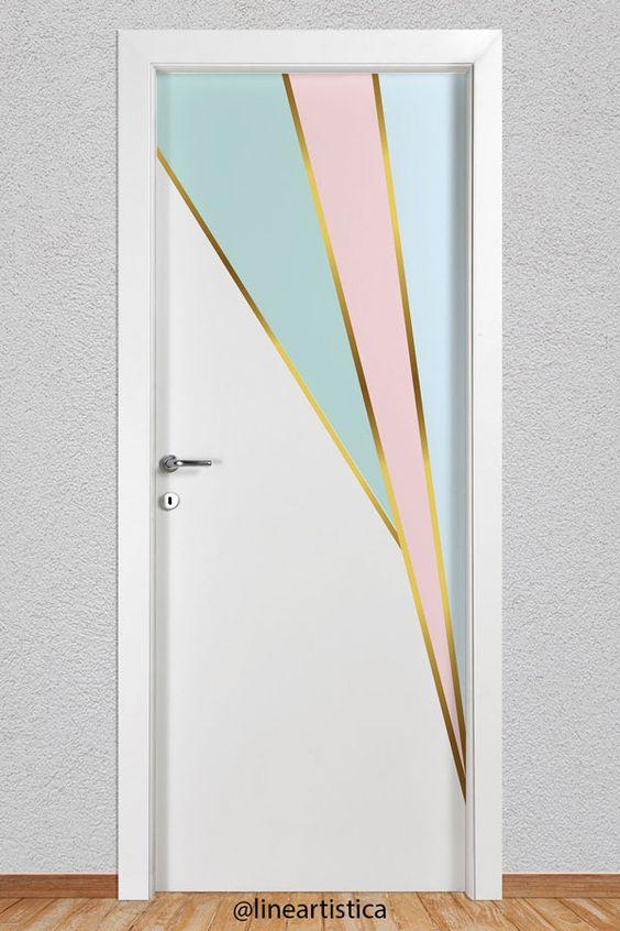 Adesivo de porta dourado e azul e rosa