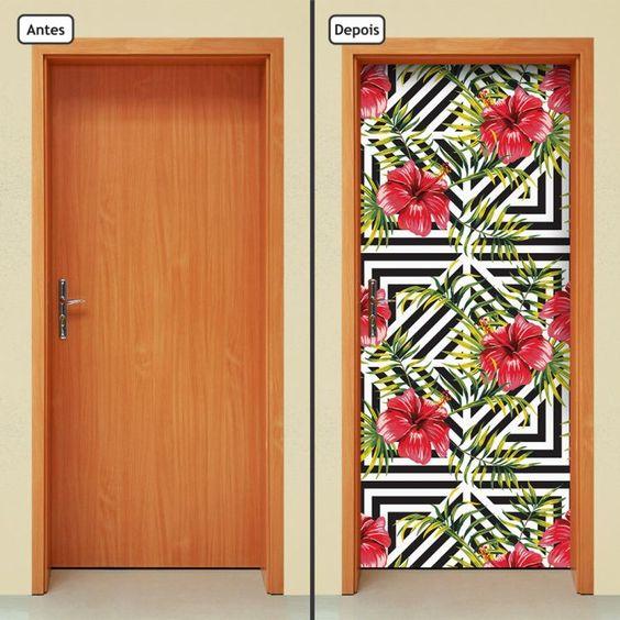 Adesivo de porta floral