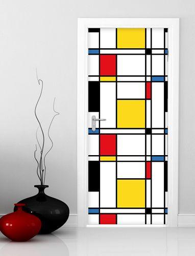Adesivo de porta geometrico amarelo e vermelho